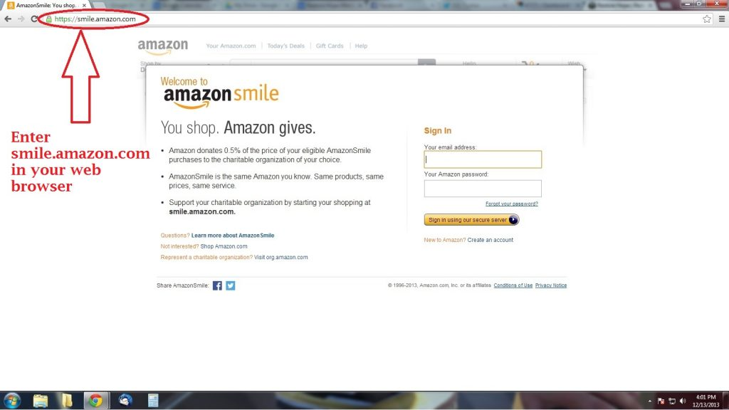 amazon smile step one